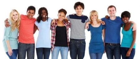 8 various teens with arms around shoulders