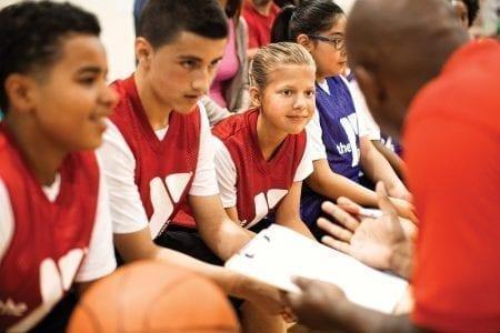 Basketball Coach and Kids