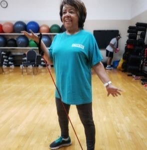 Linda tries to make all 5 Senior Group Exercise Classes a week.